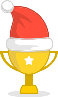 picture of the cup with Christmas hat on
